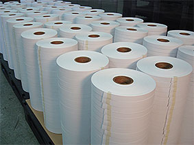 Rolls of test paper in warehouse